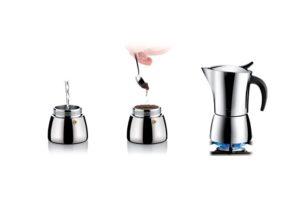 Гейзерная кофеварка для электрической газовой и индукционной плиты