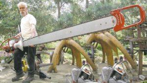 Работа бензопилой: правила валки леса распила бревен резьба поделок из дерева